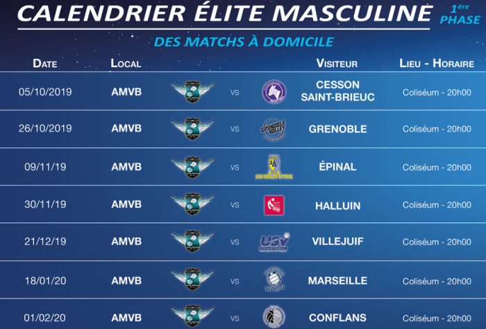 VOLLEY-BALL : Championnat Elite Masculine - Saison 2019-2020